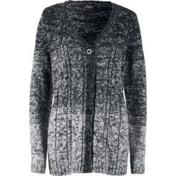 Sweter rozpinany, cieniowany kolor bonprix czarno-matowy srebrny. Fioletowe kardigany damskie marki bonprix. Za 89,99 zł.