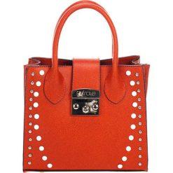 Torebki klasyczne damskie: Skórzana torebka w kolorze pomarańczowym – (S)23 x (W)11 x (G)30 cm