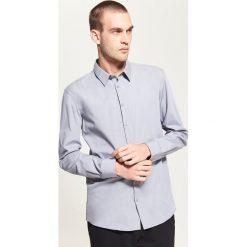 Koszule męskie na spinki: Gładka koszula – Jasny szar