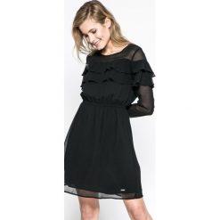 Pepe Jeans - Sukienka Riana. Czarne długie sukienki marki Pepe Jeans, na co dzień, l, z jeansu, casualowe, z okrągłym kołnierzem, z długim rękawem, proste. W wyprzedaży za 269,90 zł.