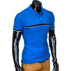 KOSZULKA MĘSKA POLO BEZ NADRUKU S881 - NIEBIESKA. Czarne koszulki polo marki Ombre Clothing, m, z bawełny, z kapturem. Za 39,00 zł.