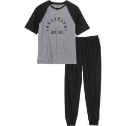 Piżamy męskie: Piżama bonprix czarno-szary melanż