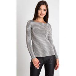 Bluzki damskie: Szara bluzka w paski z guziczkami QUIOSQUE