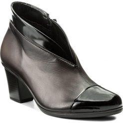 Botki GABOR - 75.616.99 Zinn/Schwarz. Brązowe buty zimowe damskie Gabor, z materiału, na obcasie. W wyprzedaży za 299,00 zł.