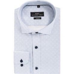 Koszula KDNS000125 SIMONE. Białe koszule męskie na spinki Giacomo Conti, m, w geometryczne wzory, z bawełny, z klasycznym kołnierzykiem. Za 169,00 zł.