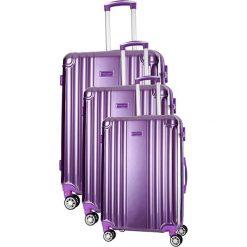 Zestaw walizek w kolorze fioletowym - 3 szt. Fioletowe walizki marki Travel One, z materiału. W wyprzedaży za 659,95 zł.