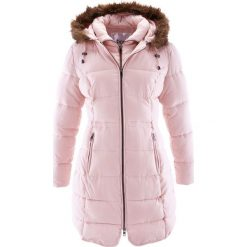 Krótki płaszcz z kapturem bonprix pastelowy jasnoróżowy. Szare płaszcze damskie pastelowe marki bonprix. Za 239,99 zł.