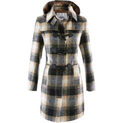 Płaszcz z kapturem bonprix beżowy w kratę. Brązowe płaszcze damskie bonprix. Za 199,99 zł.