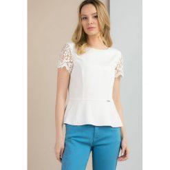 Bluzki damskie: Bluzka z koronkowymi rękawami