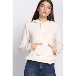 Biały Sweter Erratic. Szare swetry klasyczne damskie marki Reserved, m, z kapturem. Za 89,99 zł.
