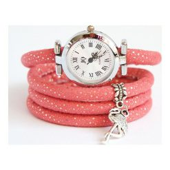 Zegarek, bransoletka - Flaming - pudrowy róż. Czerwone bransoletki damskie na nogę marki Pakamera. Za 76,00 zł.