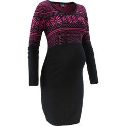 Sukienka dzianinowa z norweskim wzorem bonprix czarno-ciemnoróżowy wzorzysty. Czerwone sukienki ciążowe bonprix, w prążki, z dzianiny. Za 109,99 zł.