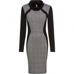 Sukienka ze stójką bonprix czarno-biały. Czarne sukienki balowe marki bonprix, na imprezę, ze stójką. Za 149,99 zł.