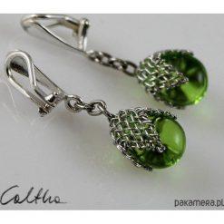 Biżuteria i zegarki: Zielone w siateczce – klipsy