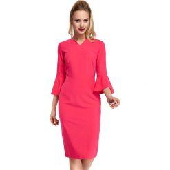 Różowa Sukienka Ołówkowa Midi z Hiszpańskim Rękawkiem. Czerwone sukienki koktajlowe marki Molly.pl, do pracy, l, z elastanu, z dekoltem typu hiszpanka, midi, dopasowane. Za 135,90 zł.