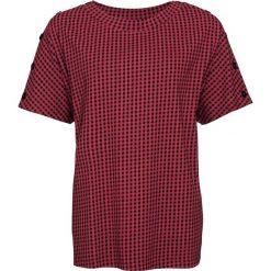 T-shirt bonprix pomarańczowo-czerwono-czarny w kratę. Czerwone t-shirty damskie bonprix, z okrągłym kołnierzem. Za 27,99 zł.