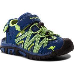 Sandały KANGAROOS - Osato 18185 000 4800 D Navy/Lime. Niebieskie sandały męskie skórzane marki KangaROOS. W wyprzedaży za 149,00 zł.