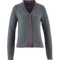Swetry rozpinane damskie: Sweter rozpinany ludowy z falbankami bonprix szary melanż – fuksja