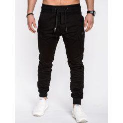 SPODNIE MĘSKIE JOGGERY P474 - CZARNE. Czarne joggery męskie Ombre Clothing, z bawełny. Za 89,00 zł.