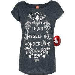 Alicja w Krainie Czarów I Find Myself In Wonderland Koszulka damska odcienie szarego. Szare bluzki nietoperze Alicja w Krainie Czarów, m, z nadrukiem, z dekoltem w łódkę. Za 99,90 zł.