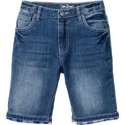 """Jeansy dziewczęce: Bermudy dżinsowe z wywiniętymi nogawkami w kratę bonprix niebieski """"stone"""""""