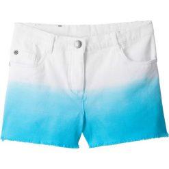 Krótkie spodenki twillowe bonprix biało-błękit laguny. Niebieskie spodenki dziewczęce marki bonprix, melanż. Za 69,99 zł.