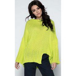 Limonkowy Sweter Asymetryczny z Rozkloszowanymi Rękawami. Pomarańczowe swetry oversize damskie marki Born2be, l, z okrągłym kołnierzem. Za 118,90 zł.