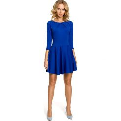 Sukienki: Sukienka z koła z zakładkami i rękawem 3/4 - chabrowa