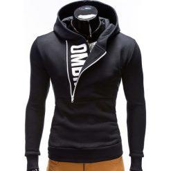 BLUZA MĘSKA Z KAPTUREM I NADRUKIEM DENIS - CZARNA. Czarne bluzy męskie rozpinane Ombre Clothing, m, z nadrukiem, z bawełny, z krótkim rękawem, krótkie, z kapturem. Za 79,00 zł.
