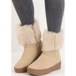 Beżowe Śniegowce Getting On. Brązowe buty zimowe damskie Born2be, z okrągłym noskiem, na platformie. Za 99,99 zł.