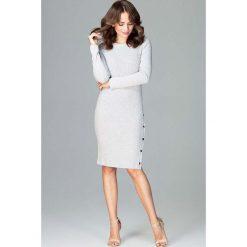 Sukienki: Szara Dopasowana Sukienka Zapinana na Boku