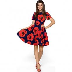 Sukienka Rozkloszowana w Kwiaty z Krótkim Rękawem - Koralowa. Pomarańczowe sukienki mini marki Molly.pl, na imprezę, l, w kwiaty, z tiulu, z krótkim rękawem, dopasowane. Za 218,90 zł.