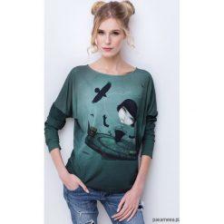 Crazy-girl bluzka z nadrukiem. Zielone bluzki dziewczęce z nadrukiem Pakamera. Za 149,00 zł.