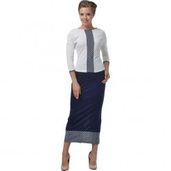 Zestaw w kolorze granatowo-białym - bluzka, spódnica. Białe długie spódnice Lila Kass, xxs. W wyprzedaży za 229,95 zł.