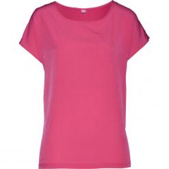 Bluzka shirtowa bonprix różowy. Czerwone bluzki z odkrytymi ramionami bonprix, z satyny. Za 54,99 zł.