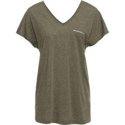 T-shirt z lureksową nitką bonprix oliwkowy melanż. Zielone t-shirty damskie bonprix, melanż, z dekoltem w serek. Za 37,99 zł.