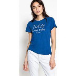 Bluzki asymetryczne: Gładka koszulka z okrągłym dekoltem z krótkim rękawem