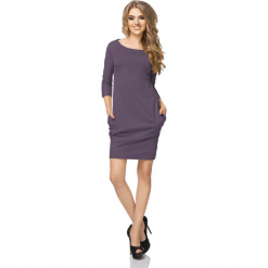 Fioletowa Sukienka z Drapowaniem i Kieszeniami. Fioletowe sukienki mini marki Molly.pl, na co dzień, l, z bawełny, casualowe, oversize. Za 119,90 zł.