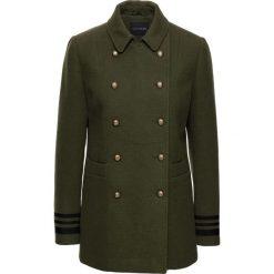 Krótki płaszcz ze złotymi guzikami bonprix ciemnooliwkowy. Zielone płaszcze damskie pastelowe bonprix, eleganckie. Za 239,99 zł.