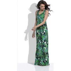 Zielona Długa Letnia Sukienka w Tropikalne Liście. Białe długie sukienki marki bonprix, na plażę, w koronkowe wzory. Za 149,90 zł.