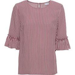 Bluzka w paski z rozkloszowanymi rękawami bonprix czerwony klonowy - biały w paski. Czerwone bluzki z odkrytymi ramionami marki bonprix, w paski. Za 59,99 zł.
