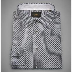 Bawełniana koszula z nadrukiem - Granatowy. Niebieskie koszule męskie marki Reserved, l. Za 119,99 zł.