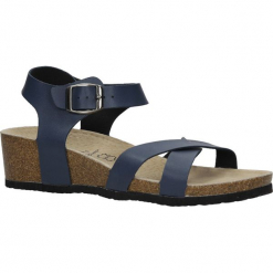 Granatowe sandały ze skórzaną wkadką na koturnie z korka Casu B18X5/N. Czarne sandały damskie Casu, na koturnie. Za 39,99 zł.