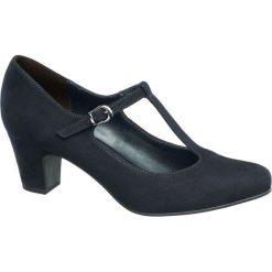 Czółenka damskie Graceland granatowe. Niebieskie buty ślubne damskie Graceland, z materiału, na obcasie. Za 89,90 zł.