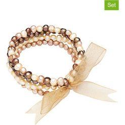 Bransoletki damskie na nogę: Bransoletki (4 szt.) w kolorze brązowo-kremowym z pereł