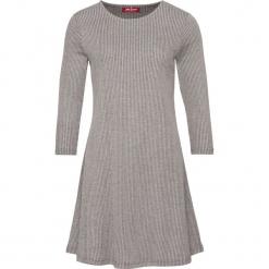 Sukienka shirtowa, rozkloszowana, rękawy 3/4 bonprix szary melanż. Szare sukienki rozkloszowane marki bonprix, melanż. Za 54,99 zł.