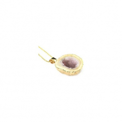Naszyjnik Agat Geoda Lawenda złoto. Fioletowe naszyjniki damskie Brazi druse jewelry, na imprezę, pozłacane. Za 170,00 zł.