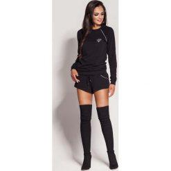Odzież damska: Czarne Krótkie Dresowe Szorty ze Srebrnymi Wypustkami