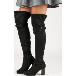 Buty zimowe damskie: Czarne muszkieterki na słupku BRIELLE