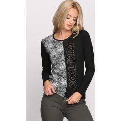 Czarna Bluzka Cool Look. Czarne bluzki asymetryczne Born2be, l, z napisami, z materiału, z okrągłym kołnierzem, z długim rękawem. Za 24,99 zł.